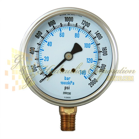 "RW132A3N325KG ENFM Series 7111 Dry Pressure Gauge 1/4"" NPT Bottom Connection 2 1/2"" Gauge Size 0-2000 PSI"