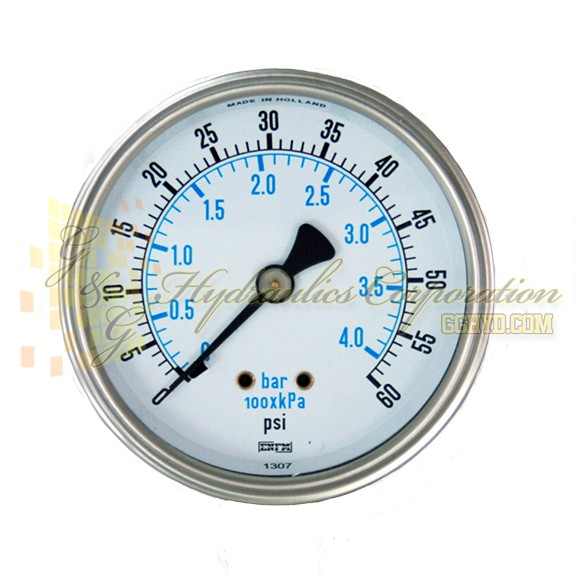 "RW132C3N306KG ENFM Series 7114 Dry Pressure Gauge, 1/4"" NPT Center Back Connection, 2 1/2"" Gauge Size, 0-60 PSI"