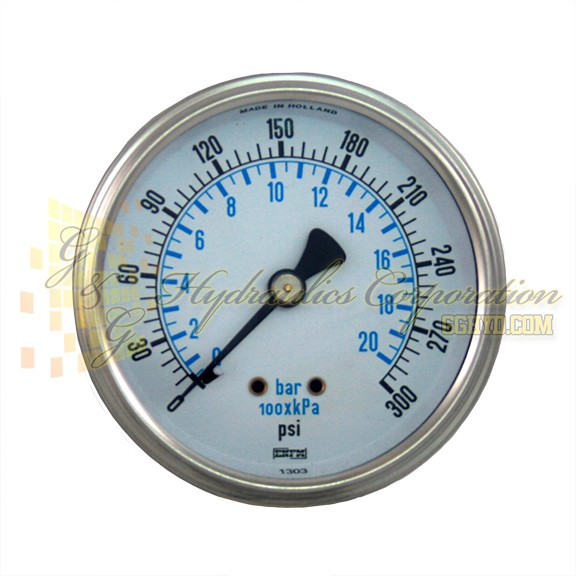 "RW132C3N317KG ENFM Series 7114 Dry Pressure Gauge, 1/4"" NPT Center Back Connection, 2 1/2"" Gauge Size, 0-300 PSI"